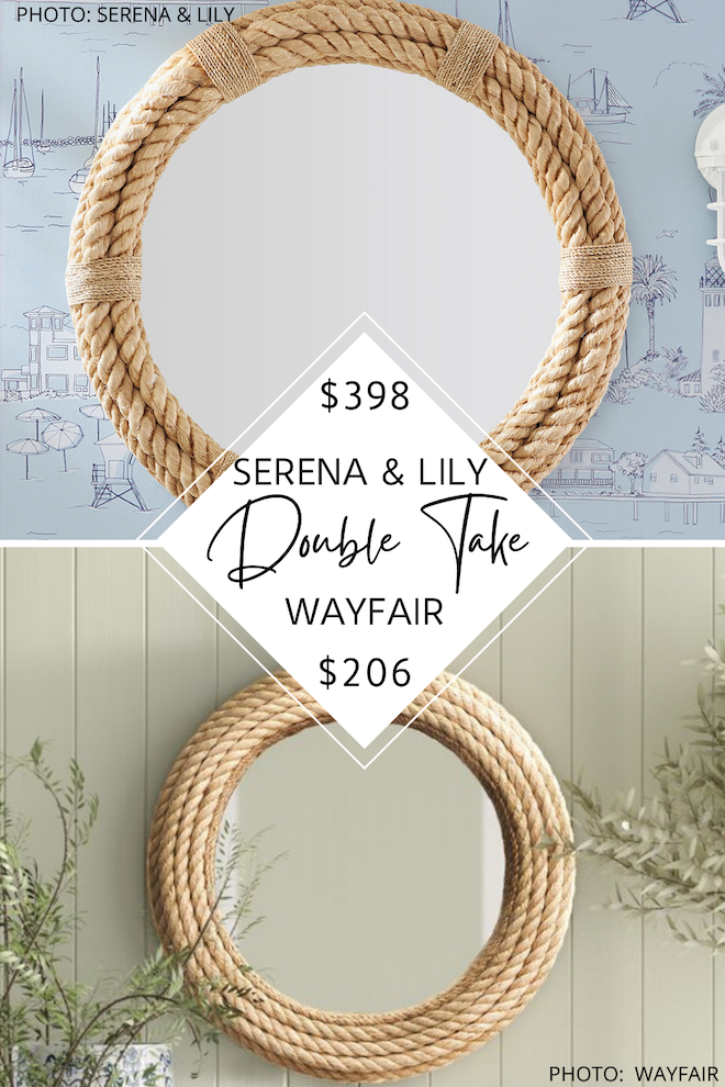 have you seen my Serena and Lily dupes? this round rope mirror will give you the same coastal style as serena and lily but for $200 less - no more shopping at the serena and lily outlet! if you're. decorating on a budget, this serena and lily knockoff is for you. it's a little nautical, a little boho, a little california decor, and a lot of money saving. #inspo #design #copycat