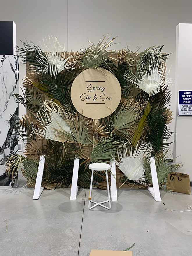 You have to see this Dried Green Backdrop with Paper Palms