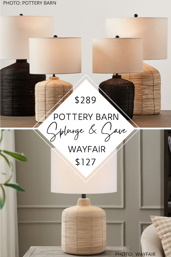 WOW! Check out this Pottery Barn dupe! If you love rattan decor and boho design, you've got to see this table lamp. Pottery Barn copycats are a great way to decorate on a budget - this would go great as bedside table lamps or in a home office. #inspiration #decor #lighting #sale