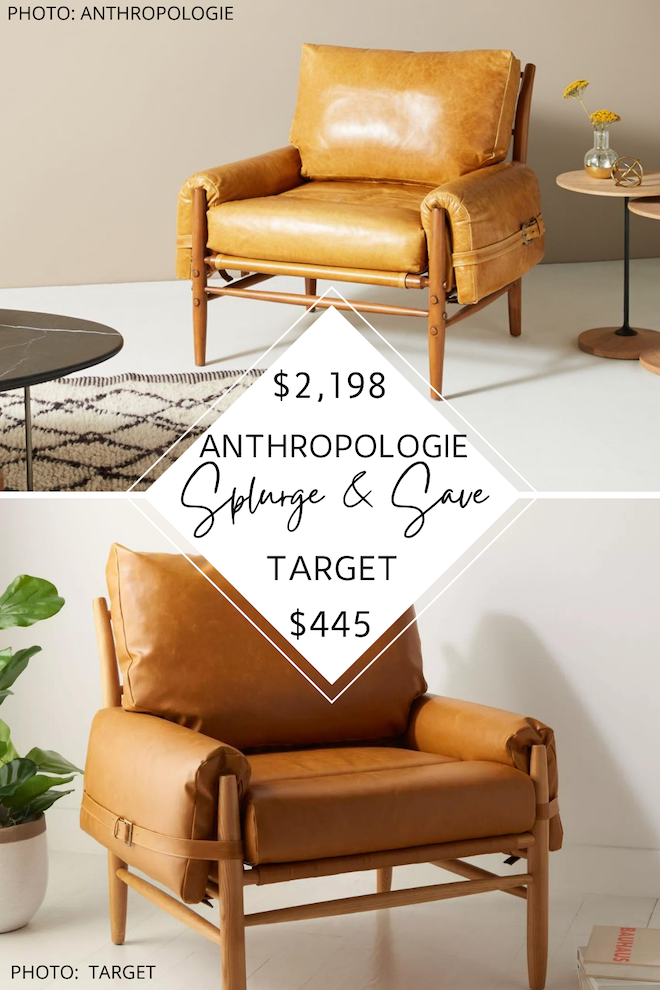 Love Anthropologie dupes? This Anthropologie Rhys Leather Chair dupe is camel leather, has a mid-century style, and even has a buckle - just like the Anthropologie version. This MCM accent chair would look perfect in a transitional living room or home office. #inspiration #decor #design #knockoff
