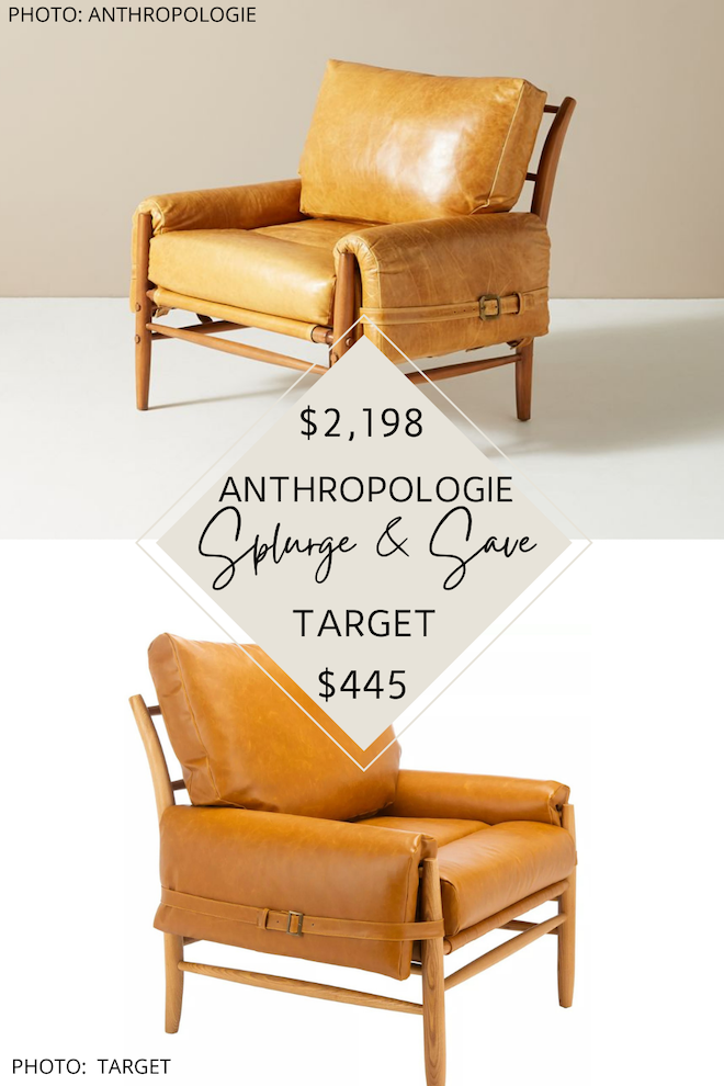 This Anthropologie Rhys leather chair dupe will give you the Anthropologie living room you've always dreamed of. The brown cognac leather and buckles make the perfect accents and would go perfectly with  transitional, modern traditional, or eclectic decor. #inspiration #design #knockoff #copycat