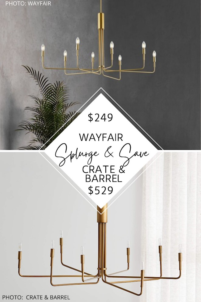 This Crate and Barrel Clive chandelier dupe will save you almost $300! It's a gold chandelier that is candle style with long arms - which is totally in style right now! It's modern traditional and wold go perfect in a living room, kitchen, or dining room. #decor #lighting #transitional #sale