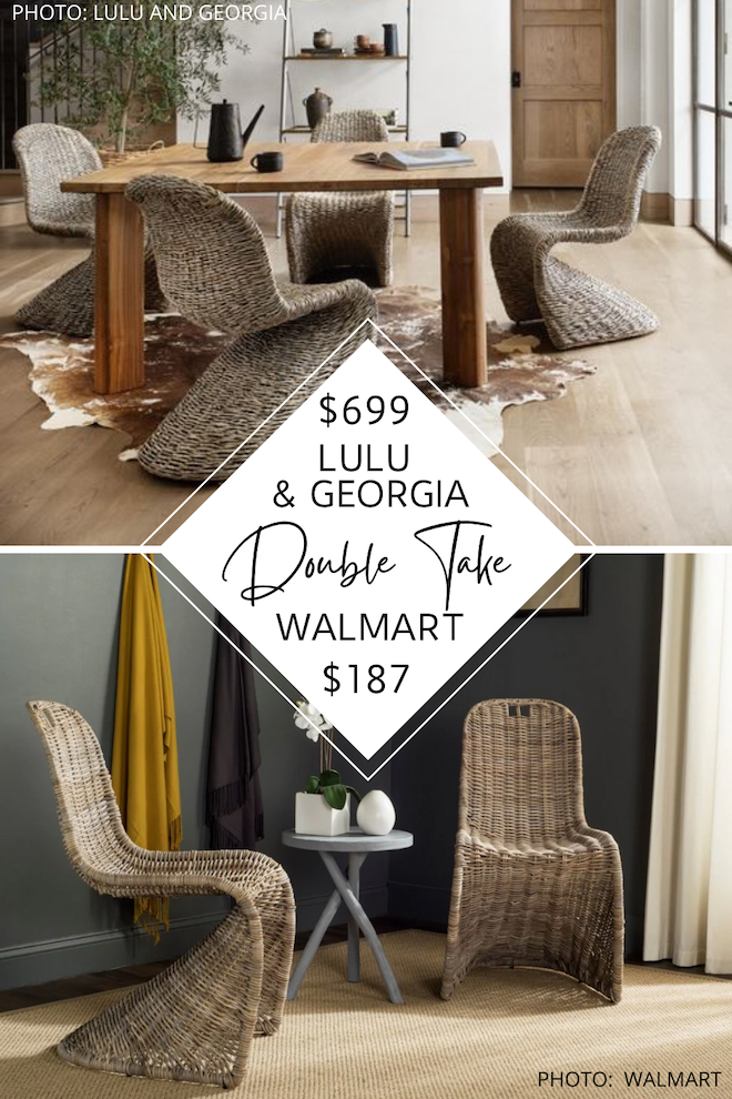 This Lulu and Georgia dupe will help you decorate on a budget AND give you the coastal, rattan wicker chairs you've always dreamed of. These chairs are also known as S Chairs or scoop chairs, these beachy, coastal dining chairs make a statement. These would look so great in any dining room! #inspiration #decor #goals #home