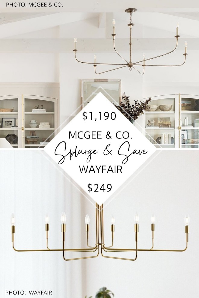 OMG this McGee and Co Nottaway chandelier dupe is everything! If you love Studio McGee looks for less, you've got to see this chandelier copycat. It's metal and candle style, just like the McGee and Co light but costs almost $1,000 less. #lighting #transitional #decor #home
