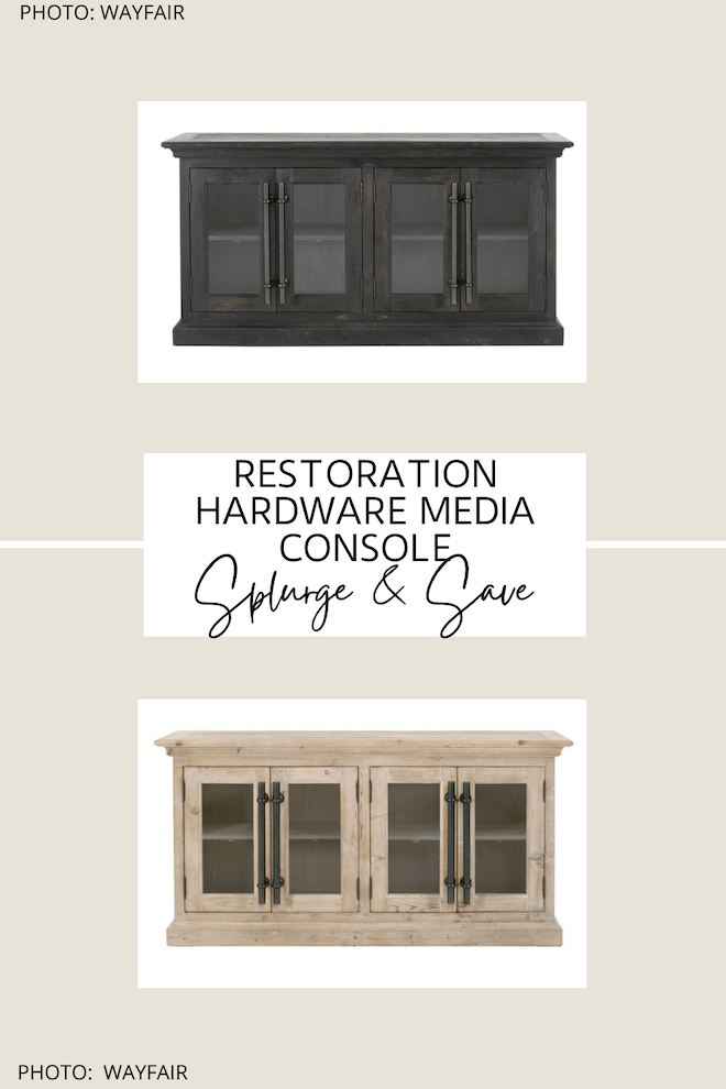 This Restoration Hardware dupe is everything! If you're looking for a Restoration Hardware TV unit dupe, you've come to the right place. The brass pulls, the modern traditional design, and the neutral wood tones are everything! If you've always dreamed of having a Restoration Hardware living room, now is your chance. #inspiration #decor #design #knockoff
