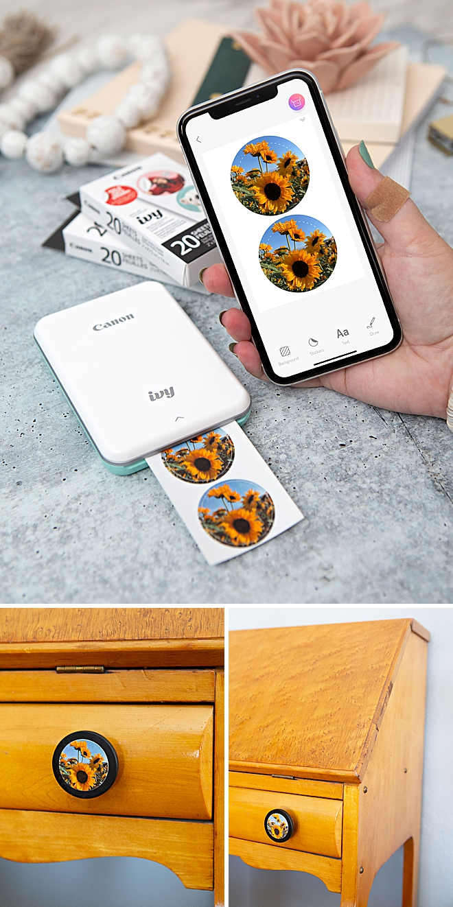 Use Your Canon IVY Stickers To Add Photos To Drawer Knobs