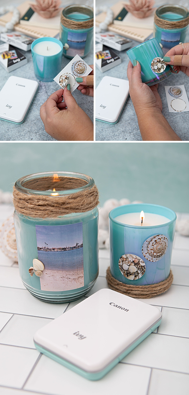 Use Your Canon IVY Stickers To Embellish Plain Candles
