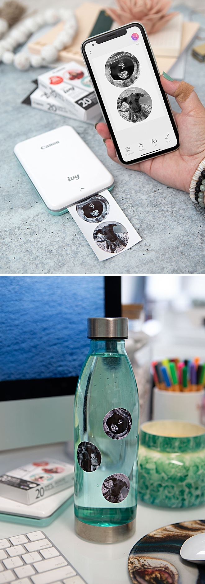 Use Your Canon IVY Stickers To Create A Photo Tumbler