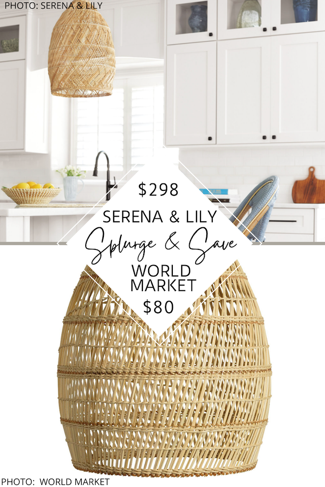 WOW. This Serena and Lily dupe is coastal decor at its best. If you've always dreamed of having a Serena and Lily kitchen, Serena and Lily dining room, or a Serena and Lily bedroom, this Serena and Lily Headlands dupe is for you! P.S This boho, rattan pendant also comes in black in addition to the natural version.  #inspo #design #knockoff #copycat