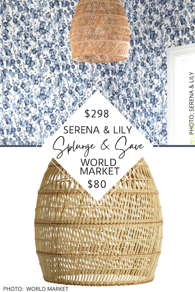 OMG can we talk about this Serena and Lily Natural Headlands pendant dupe?! If you love home decor, looks for less, decorating on a budget, and Serena and Lily style, you've got to see this copycat. This rattan, wicker light will give you the coastal Serena and Lily look for less. #inspiration #design #light #knockoff