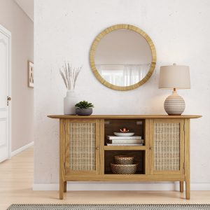 This rattan Anthropologie mirror dupe is boho, coastal, and under $100! If you love Anthropologie dupes and looks for less, you've got to see this copycat.