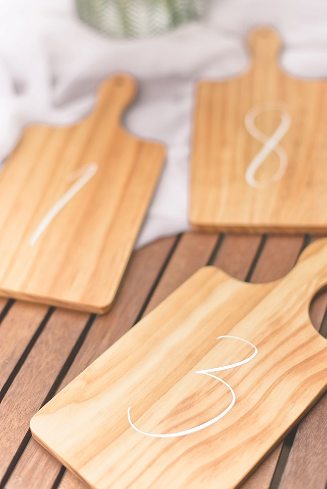 DIY Wood Wedding Table Numbers made with Cricut