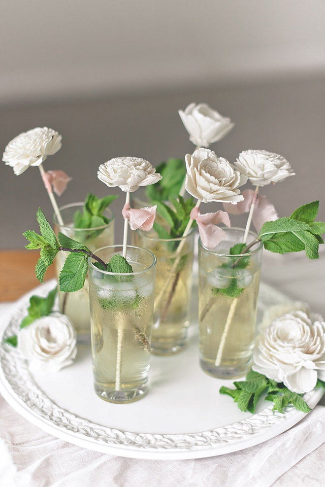 DIY Sola Wood Flower Drink Stirrers for Garden Wedding