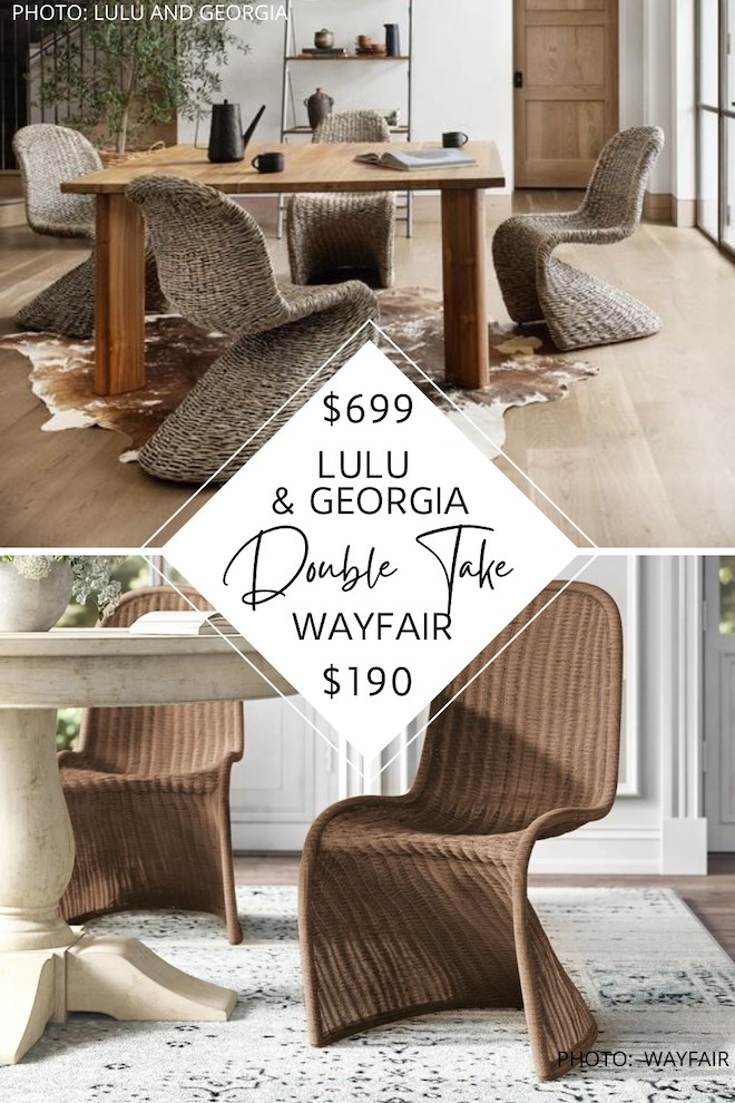 """WOW if you love rattan dining chairs and lulu and Georgia style, you've got to see my lulu and georgia dining chair dupes. These chairs are known as """"s chairs"""" or curve chairs and will give you the lulu and georgia look for less. #inspiration #decor #home #knockoff"""