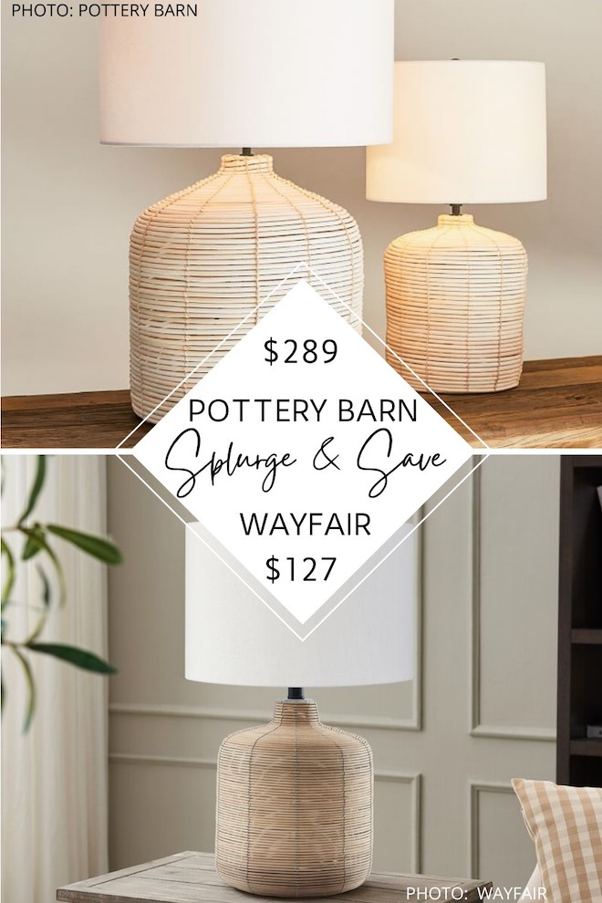 OMG this lamp is a such a great Pottery Barn dupe! If you've always dreamed of having a Pottery Barn living room, a Pottery Barn office, or a Pottery Barn bedroom, you need this copycat rattan lamp in your life. #inspiration #decor #home #house