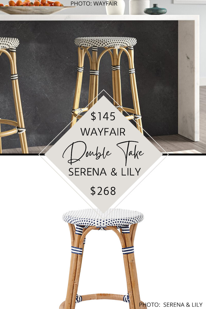 I love a good home decor dupe! If you've always dreamed of having a Serena and Lily kitchen, this is how you do it on a budget! My Serena and Lily bar and counter stool dupes will save you $100 PER stool and give you the coastal kitchen of your dreams for less. #inspiration #design #decor #island