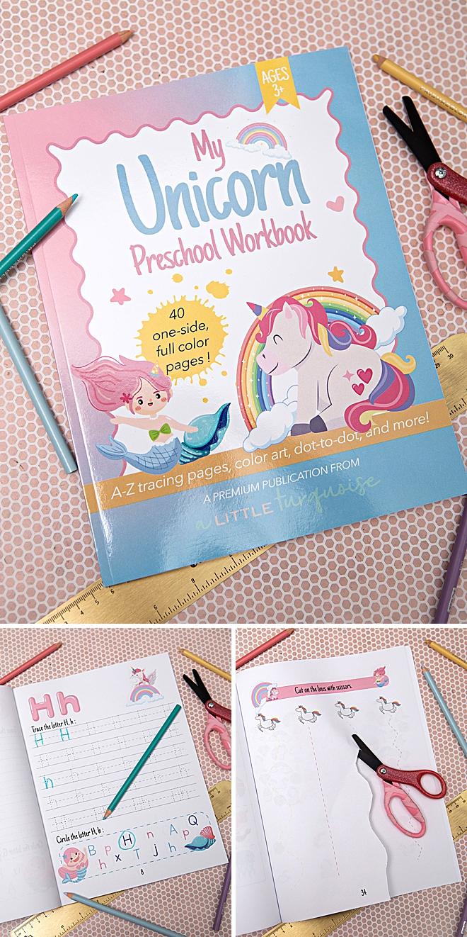 My Unicorn & Mermaid Themed Preschool Workbook, for 3+