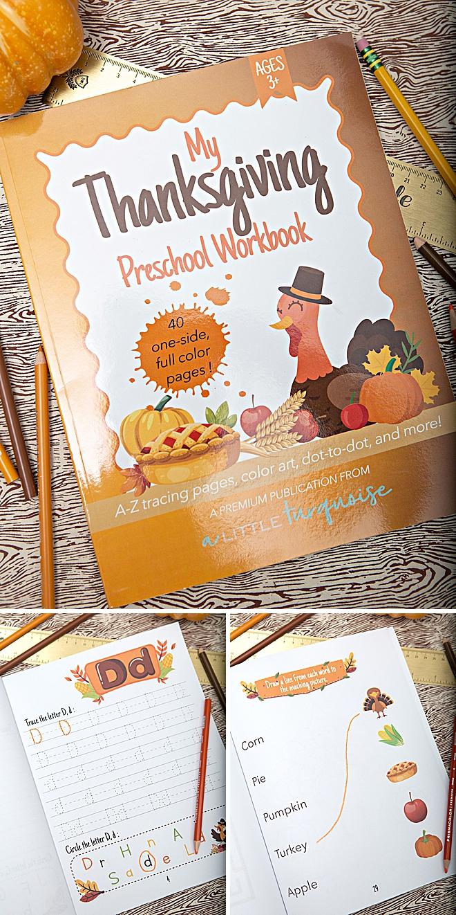 My Thanksgiving Themed Preschool Workbook, for 3+