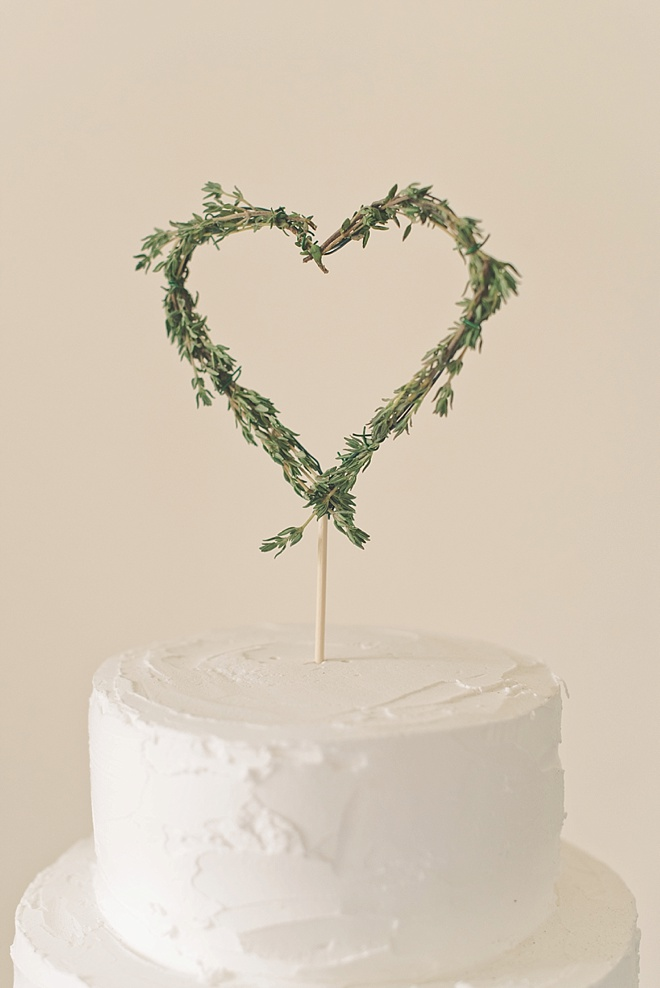 Rustic Wedding Cake Topper Made Out Of Thyme Sprigs