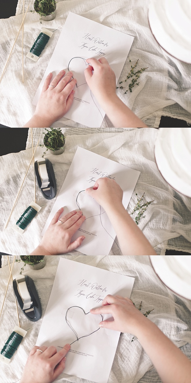 Easy DIY wedding cake topper made out of thyme herbs