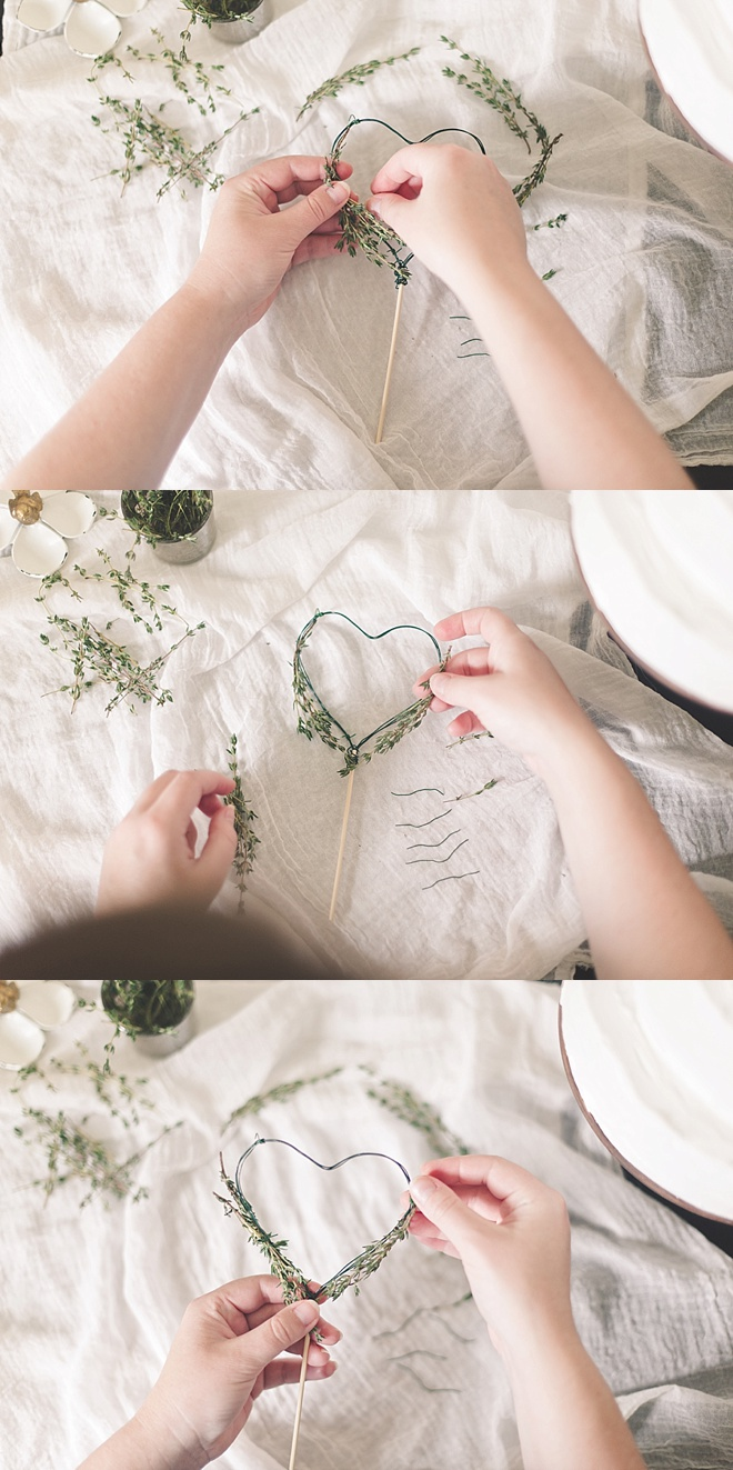 Attaching Herbs to Cake Topper
