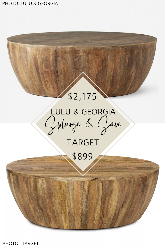 Can we just talk about this Lulu and Georgia coffee table dupe?! If you love wood drum coffee tables and are decorating on a budget, you need this knockoff in your life. The Lulu and Georgia Orseline round coffee table dupe will give you the same boho, neutral, natural living room of your dreams and do it on budget. #inspiration #decor #lookforless #design