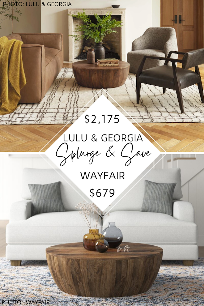 If you love Lulu and Georgia dupes, you've go to see my Lulu and Georgia Orseline Round coffee table dupe. This round wood drum coffee table is a little farmhouse, a little boho, and a lot stylish. The best part? I found this style on Wayfair, Target, Amazon, and Etsy - affordable coffee tables for the win! #inspiration #knockoff #lookalike #discount