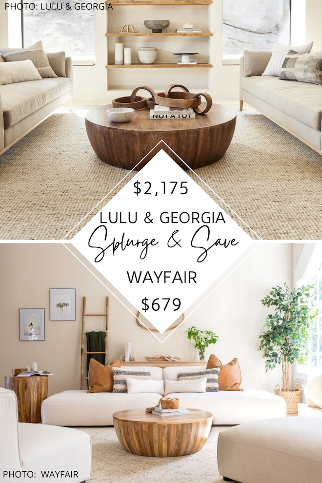 WOW. Would you look at that price difference? If you've always dreamed of having a boho living room, or maybe even a traditional or transitional living room, you've got to see my Lulu and Georgia Orseline coffee table dupe. This round wood drum coffee table is super affordable and also very on-trend. I found similar coffee tables at Target, Etsy, Amazon, and Wayfair! I love a good look for less. #inspiration #decor #knockoff #lookalike #design
