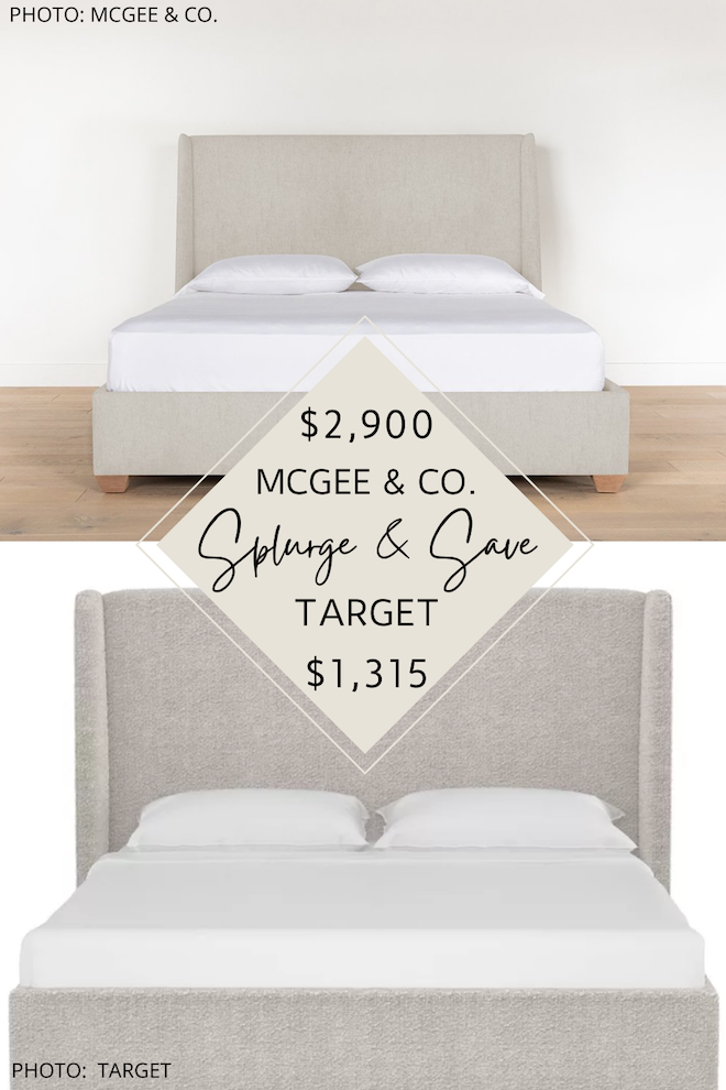 Looking for an affordable upholstered bed? If you love neutral, linen beds, you've got to see my Studio McGee Walt bed dupe. This copycat bed will help you decorate on a budget and give you the transitional, modern traditional bedroom of your dreams. Love a good home decor copycat! #inspiration #inspo #wingback #design #mcgeeandco