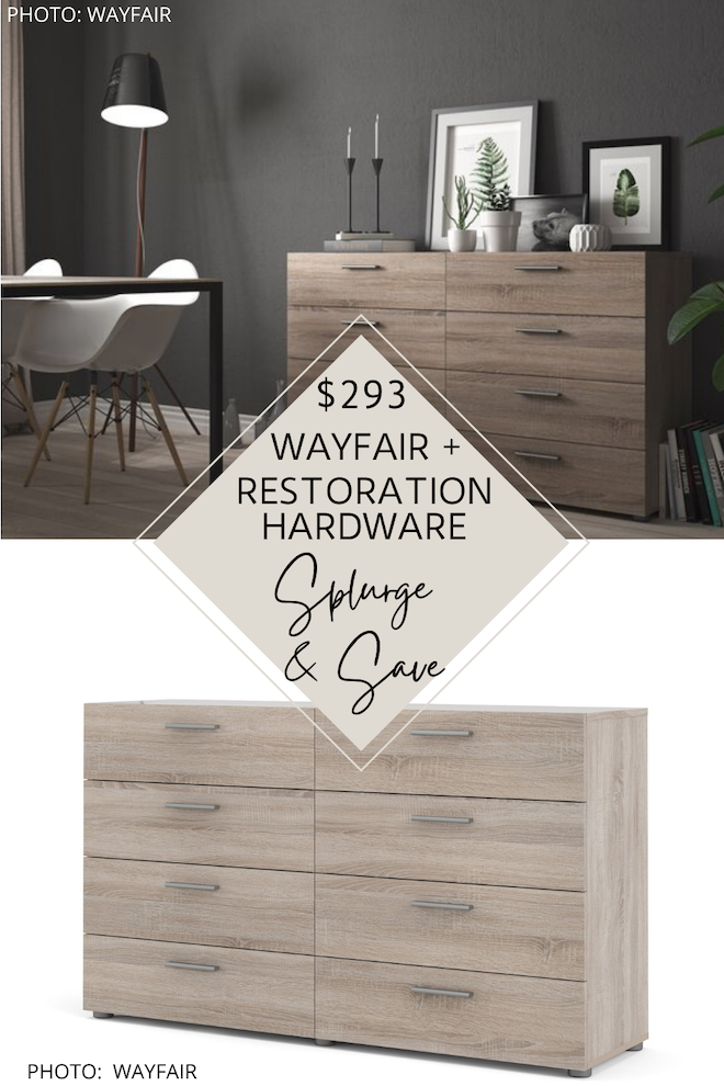 This Restoration Hardware look for less is incredible! If you're looking for a Restoration Hardware Machinto Dresser dupe, you've come to the right place. This modern wood dresser will give you the Restoration Hardware bedroom of your dreams...and all while decorating on a budget. #inspiration #knockoff #decor #furniture