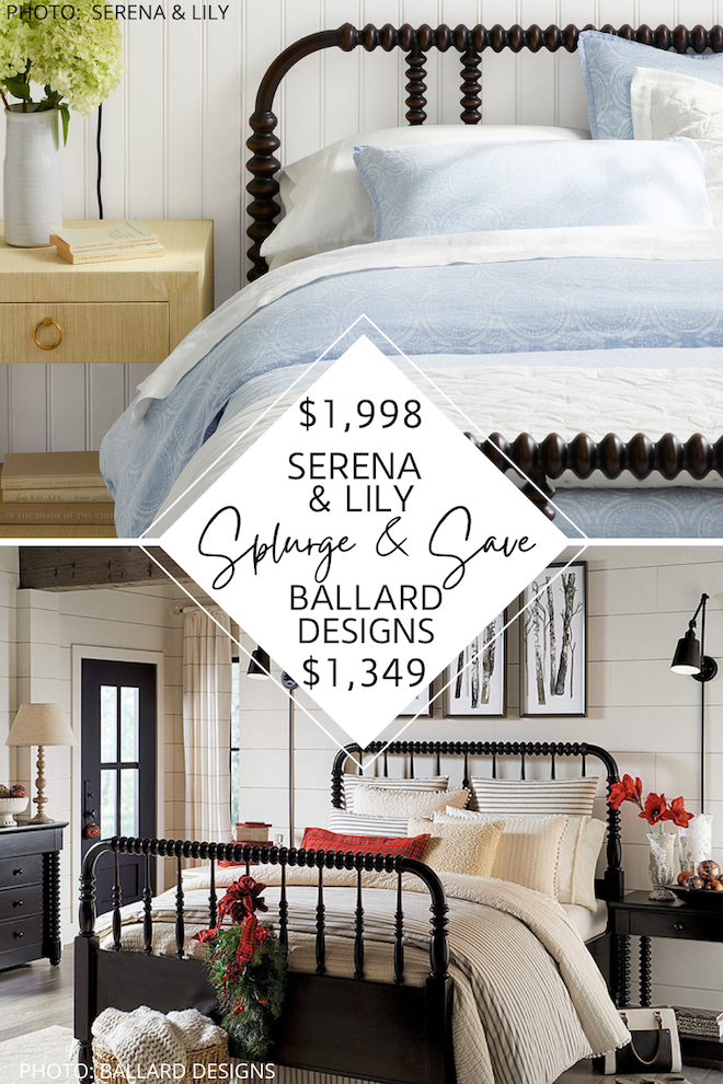 This Serena and Lily look for less is everything you need if you're decorating on a budget. I found a Serena and Lily Webster bed dupe (also known as a Jenny Lind bed) that will give you the modern traditional bedroom of your dreams. If you love spindle beds and Serena and Lily style, you've got to see this copycat. #inspiration #decor #knockoff #guestbedroom #copycat