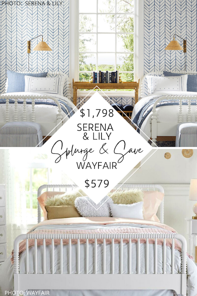 OMG these affordable Jenny Lind beds are amazing! If you love Serena and Lily dupes, you've got to see my Serena and Lily Webster bed dupe. These spindle beds will save you HUNDREDS of dollars and get you the traditional, modern traditional, or transitional bedroom of your dreams .....and all while decorating on a budget. #inspiration #decor #design #girly #kids
