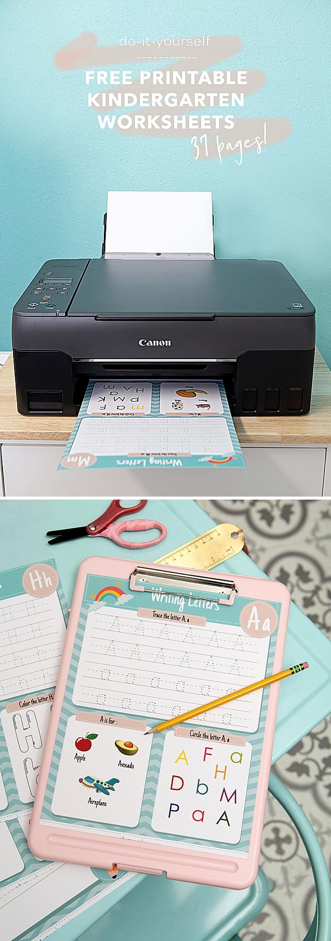 Free, 37 full color printable kindergarten worksheets!