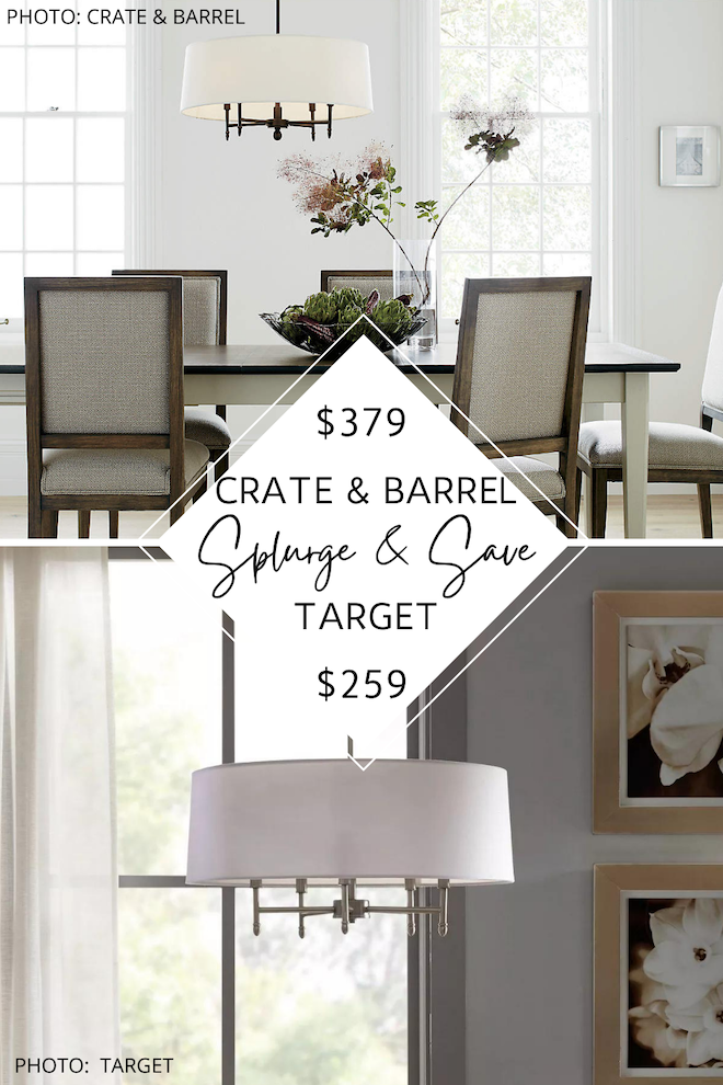 Love Crate and Barrel looks for less? If you want a modern traditional chandelier, check out my Crate and Barrel Splurges and saves. You can decorate on a budget and get the transitional chandelier that you've always dreamed of. #inspiration #decor #lighting #knockoff #dupe