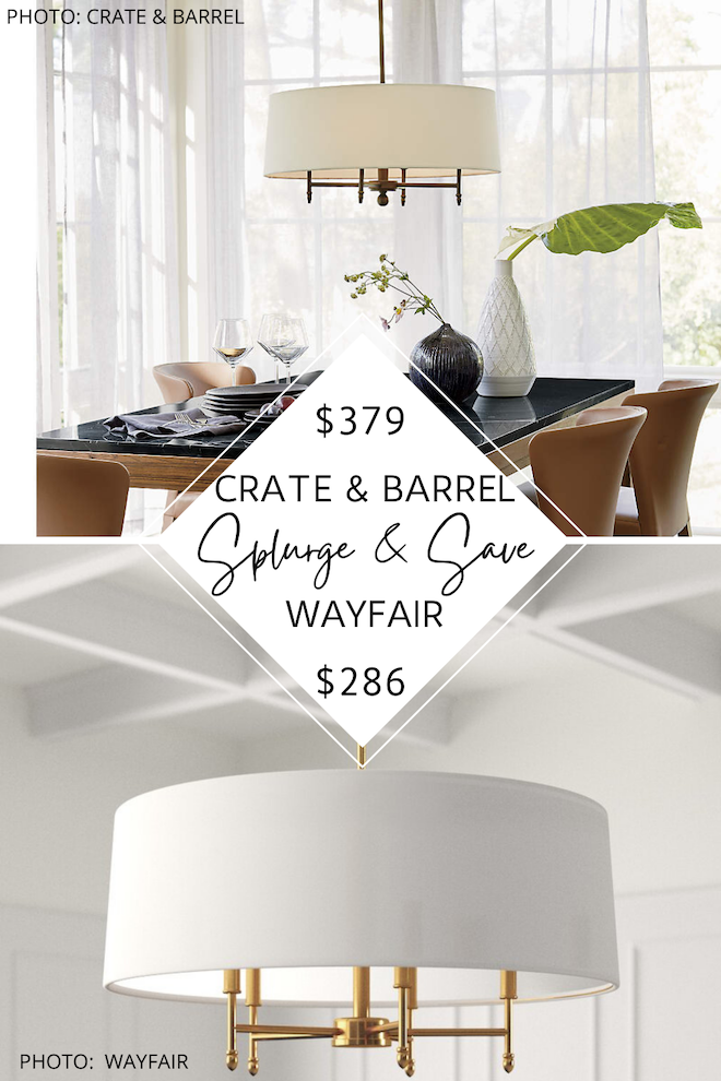 OMG finally a Crate and Barrel Arlington Chandelier dupe! If you love looks for less, copycats, splurges and saves, and dupes, you've got to see these modern traditional chandeliers. They will give you the translational living room or dining room of your dreams on a budget. #inspiration #gold #knockoff