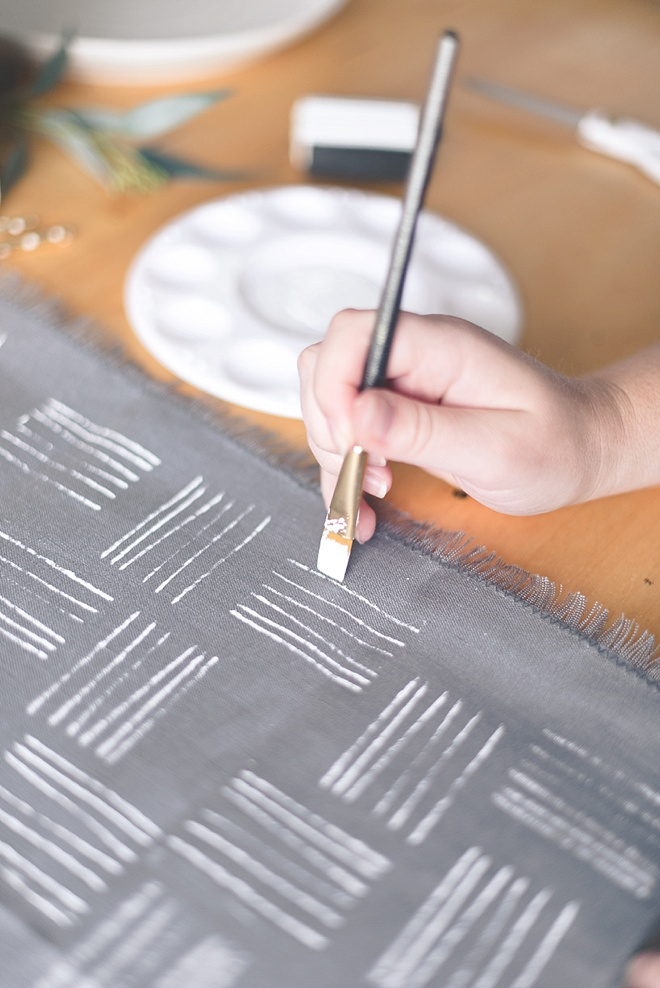 Stamping with fabric paint DIY