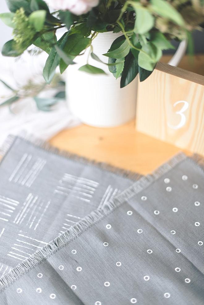 DIY linen wedding napkins