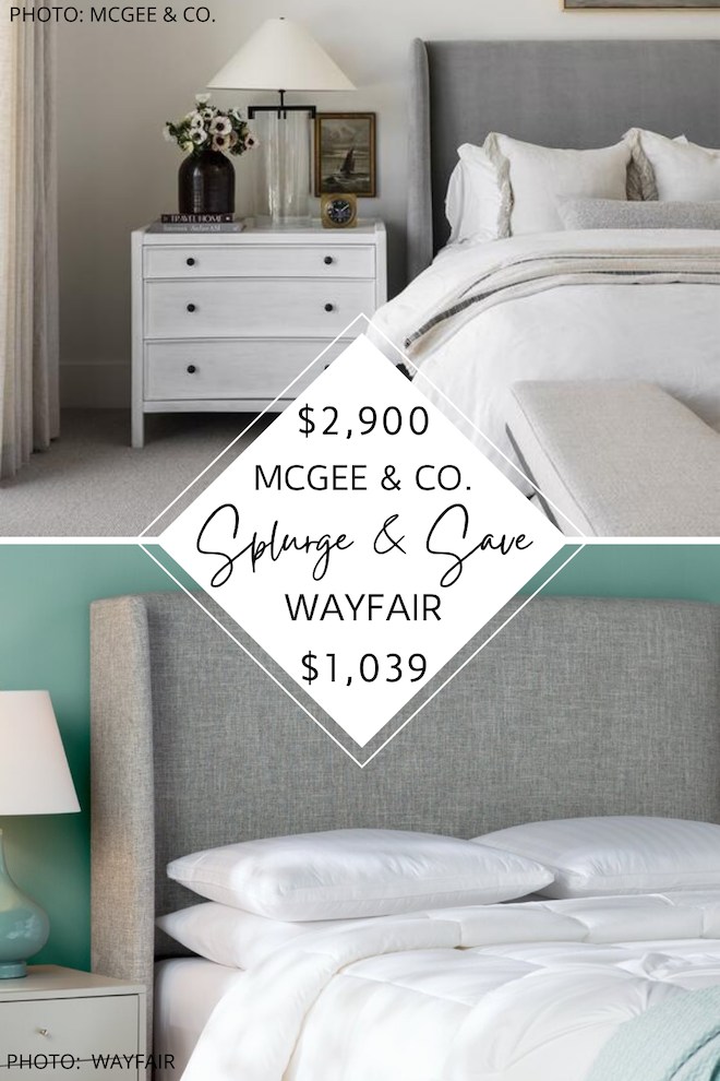 This mcgee and co walt bed dupe will give you the modern traditional bedroom of your dreams. If you love Studio mcgee dupes, you've got to see this neutral upholstered bed. Also known as a shelter bed, it's cozy, transitional, and affordable. Three cheers for looks for less! #inspiration #decor #design #home #knockoff