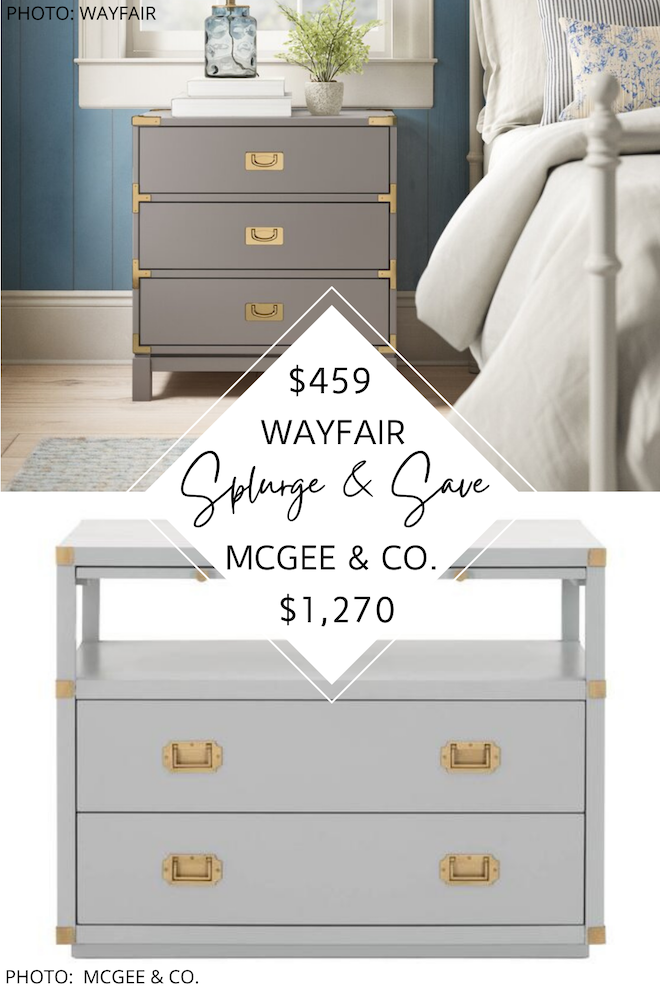 OMG this McGee and Co (Studio McGee) nightstand dupe is amazing! It looks like their campaign dresser, but costs hundreds less. I love a good look for less! #inspiration #knockoff #copycat