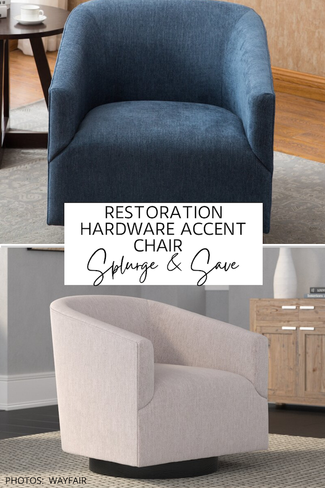 This Restoration Hardware swivel chair dupe is AMAZING! If you love Restoration Hardware looks for less, you need this copycat in your life. #inspiration #decor #knockoff #design
