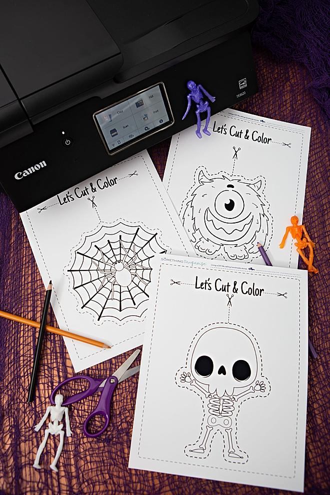 Free printable Halloween themed scissor practice sheets!