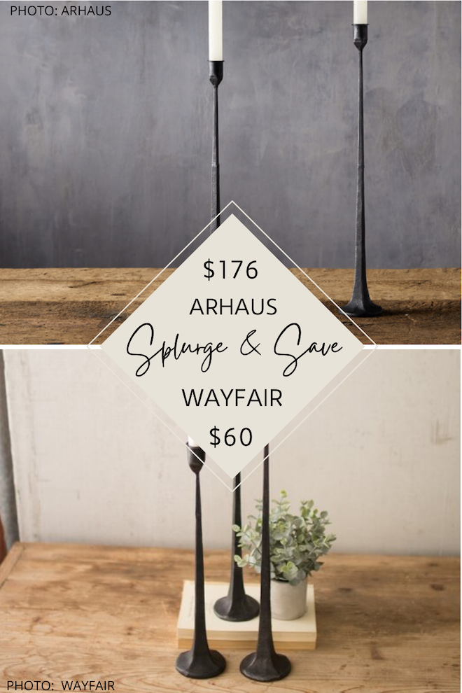 I've got two copycats for you today! I've got a Pottery Barn Rena Taper Cast Iron Candle Holder dupe AND also an Arhaus Cast Iron Taper Candle Holder dupe. #highlow #lookforless #homedecor #halloween