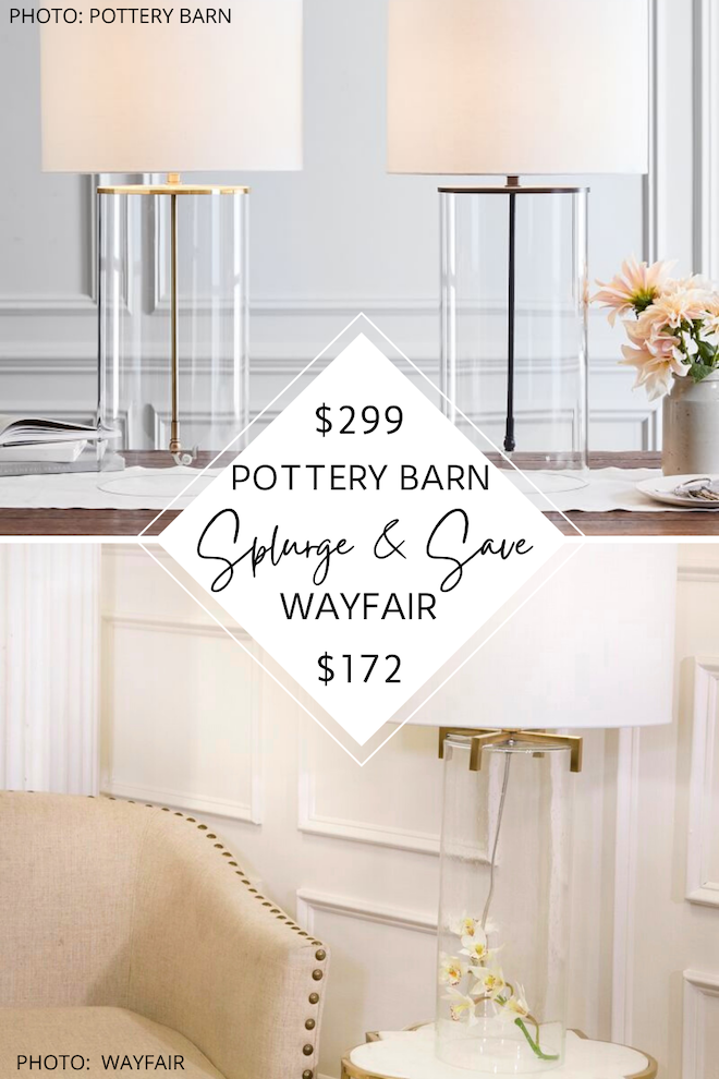 I found a Pottery Barn Aria glass table lamp dupe! WOW! This clear, cylinder lamp will give you the look for less. #inspiration #decor #copycat #dupe