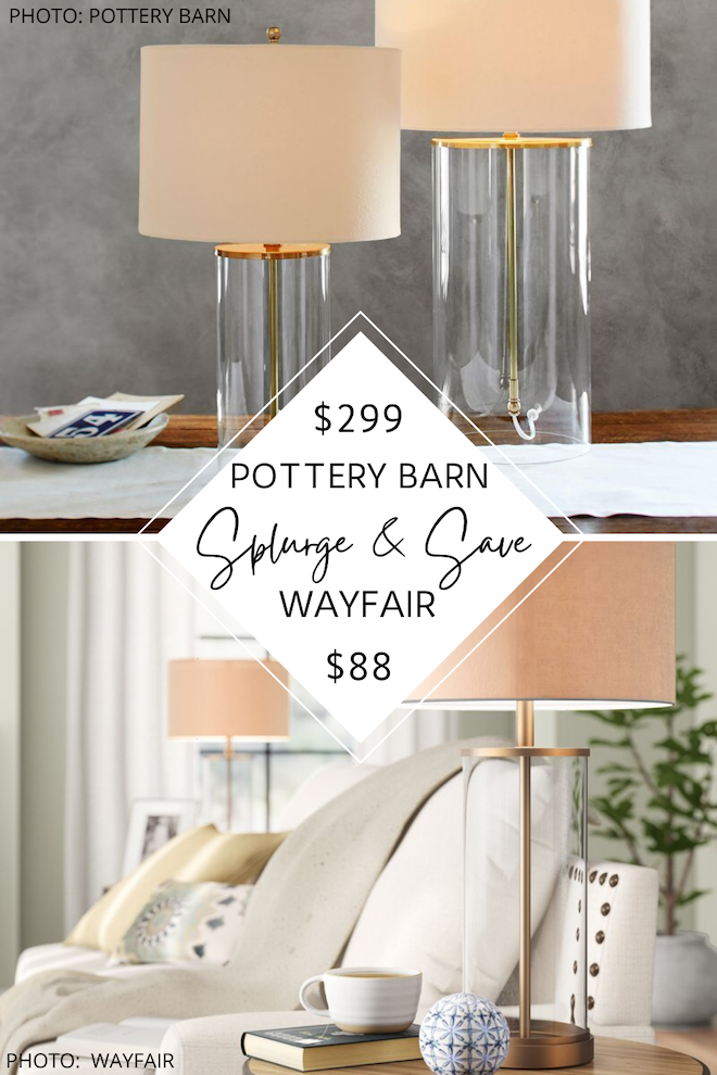 Do you love Pottery Barn lighting? If you're decorating on a budget, you're going to love my Pottery Barn Aria Glass Table Lamp dupe. This cylinder glass lamp comes in gold, bronze, and black, and would look great on bedside tables, in a home office, or a living room.  Three cheers for home decor looks for less!