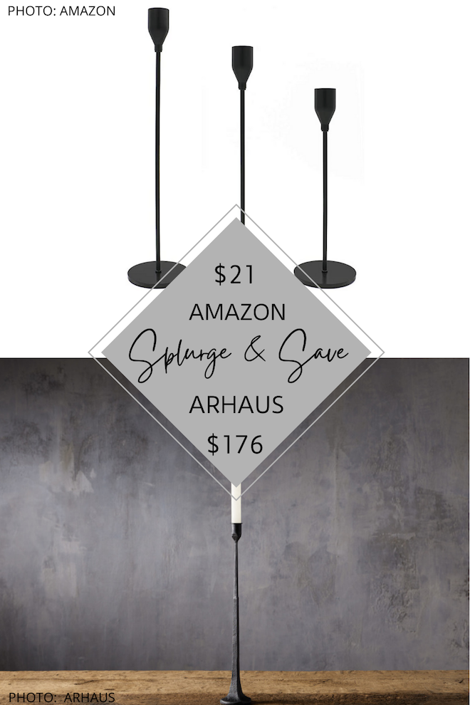 Do you want some affordable Taper candle sticks? If you're looking for Arhaus and Pottery Barn dupes, you've got to see these iron candle holders. #inspiration #decor #design #lookforless