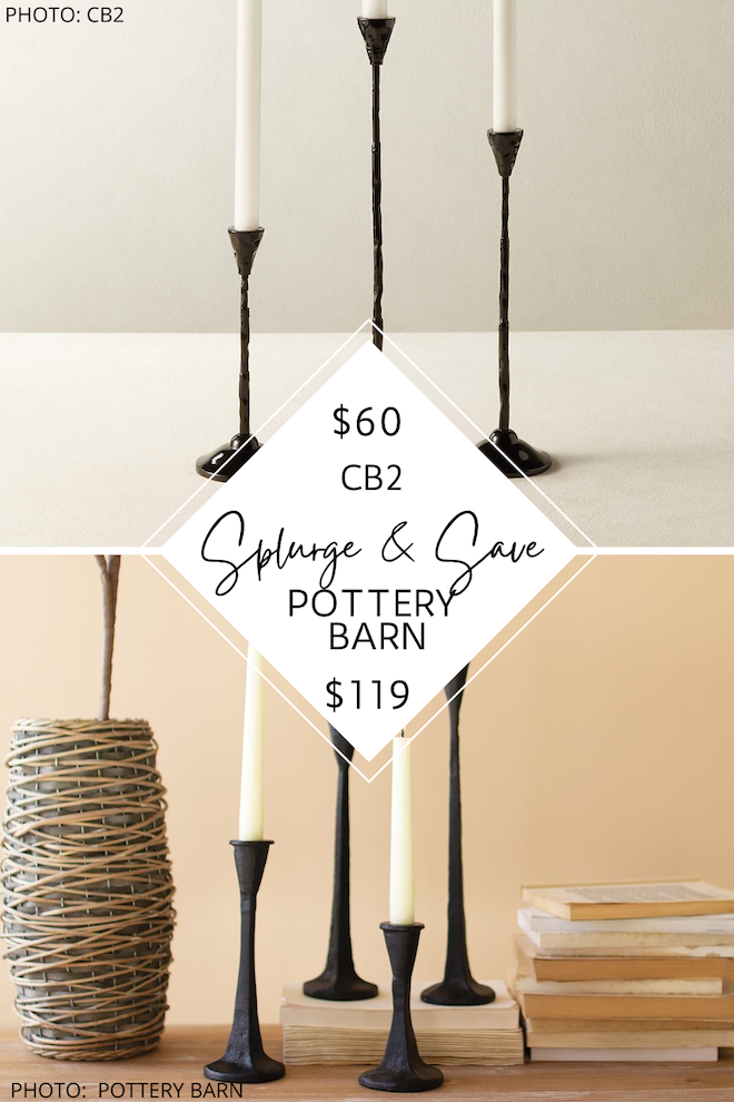 If you're looking for affordable black or gold taper candlesticks, you've got to see this Pottery Barn candle dupe. They are perfect as modern traditional, transitional, farmhouse, or traditional home decor. #arhaus #decor #copycat #lookforless